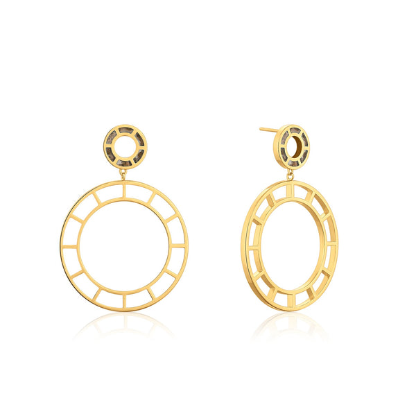 ACUITY | Hollow Round Hoop Dangling Stud Earrings with Black Enamel