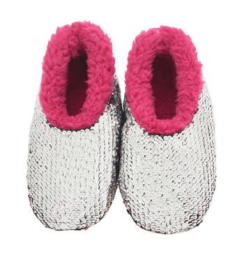 Snoozies- KIDS Hot Pink Sequin Reverse Slippers