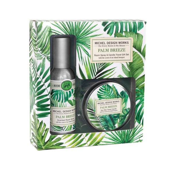 Palm Breeze Room Spray and Candle Travel Gift Sets