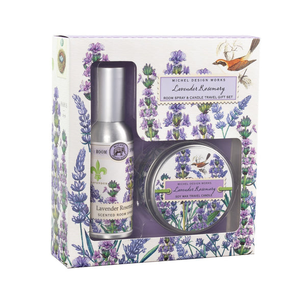 Lavender Rosemary Room Spray and Candle Travel Gift Sets
