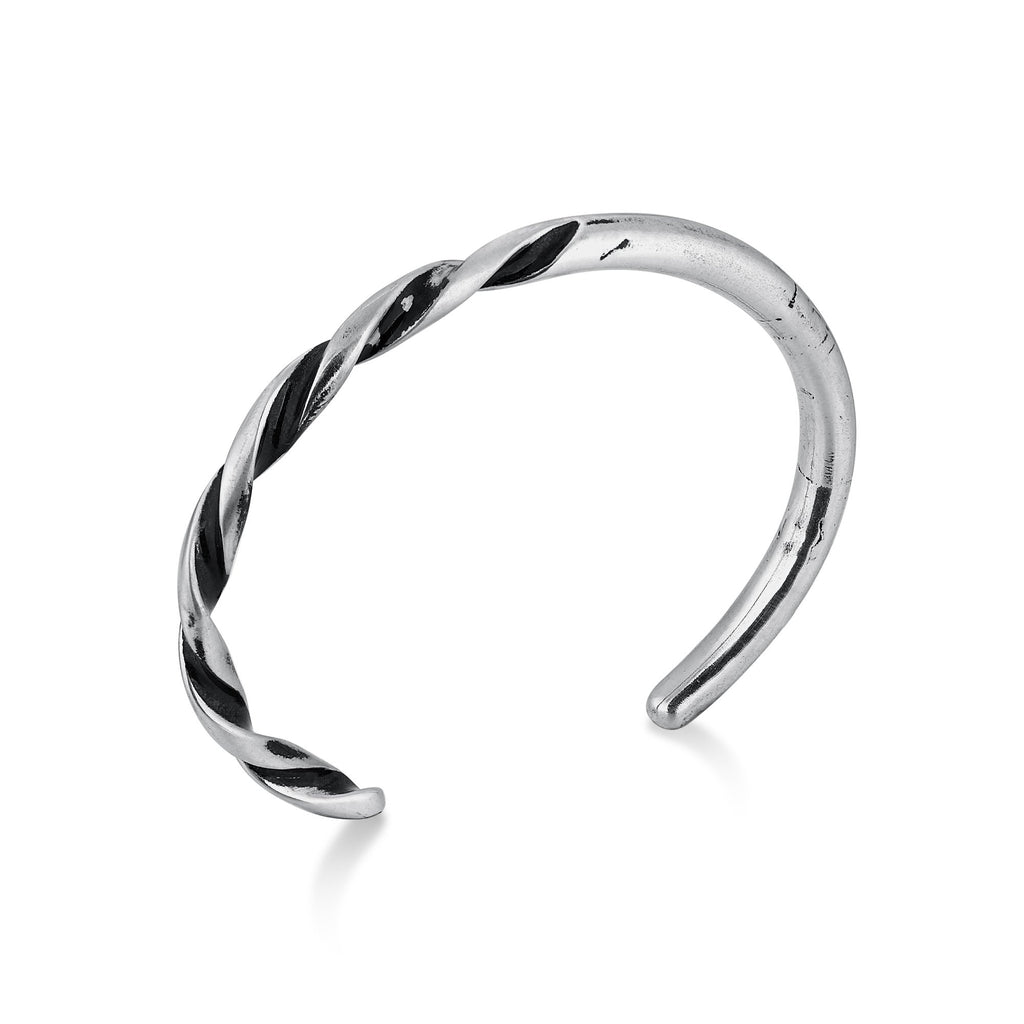 TRACE | Silver Narrow Cuff Bracelet with Twisted Multi Shaded Surface