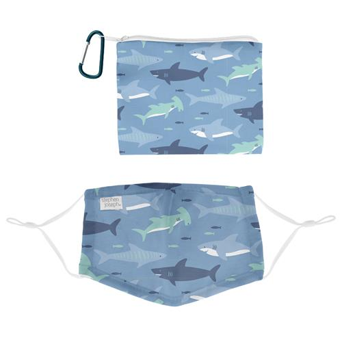 Kids Adjustable Mask With Zipper Pouch - Sharks