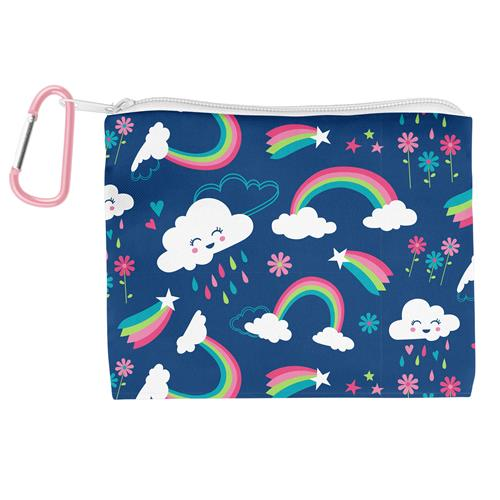 Kids Adjustable Mask With Zipper Pouch - Rainbow Clouds