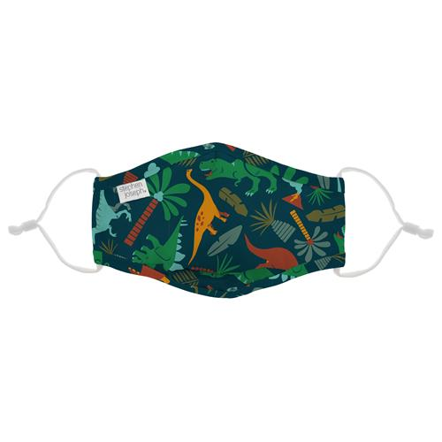 Kids Adjustable Mask With Zipper Pouch - Dinos