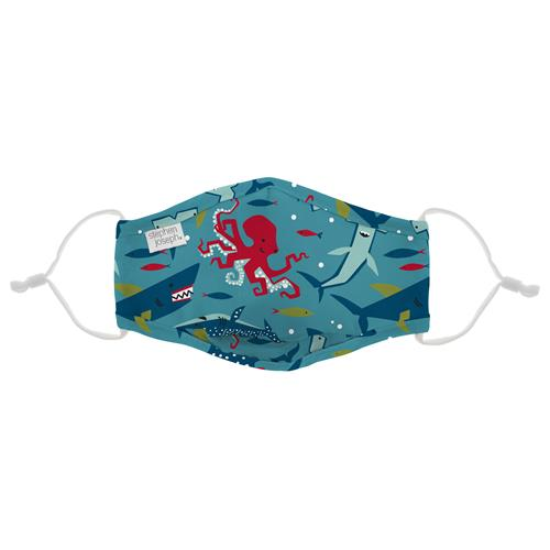 Kids Adjustable Mask With Zipper Pouch - Sea Creatures