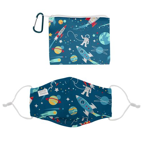 Kids Adjustable Mask With Zipper Pouch - Space