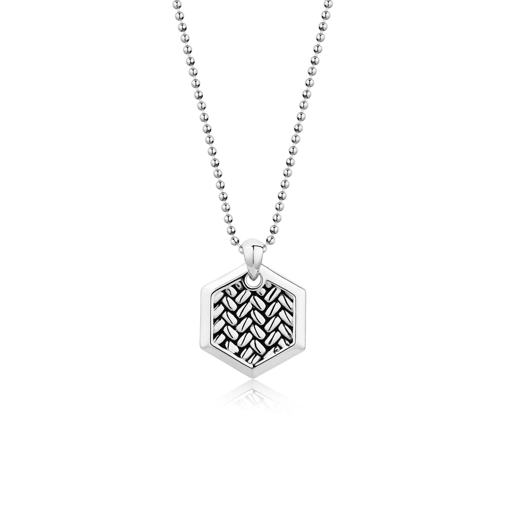 HEMP | Rhodium Plated Bead Chain Necklace with Textured Hexagon Pendant