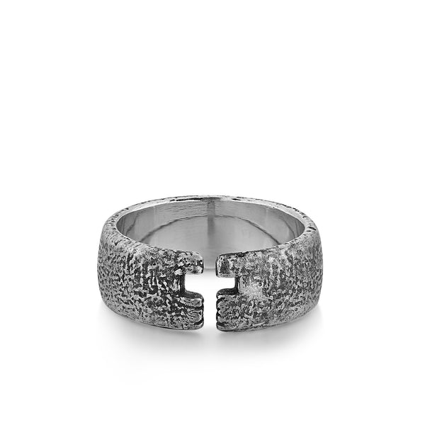 KNIGHT | Textured Silver Band with Open Cross