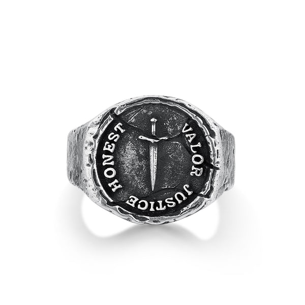 ALERON | Silver Ring For Men with Ancient Sword and Text