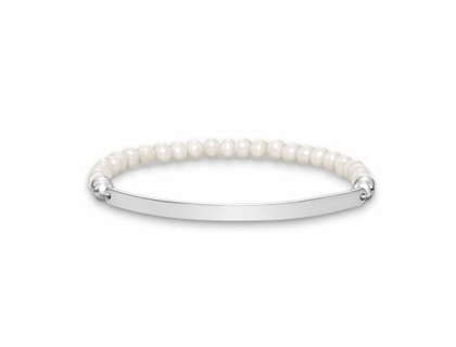 Love Bridge White Beaded Stretch Bracelet
