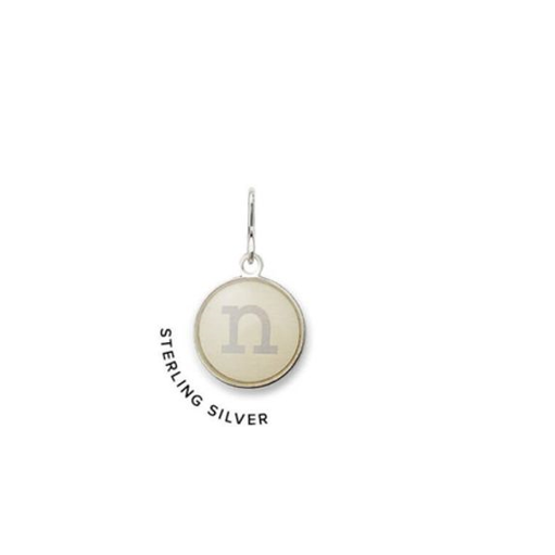 Necklace Charm - Etching Charm, Initial N, Sterling Silver
