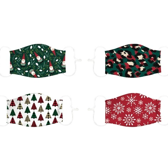 Evergreen - Adult Adjustable Antimicrobial Holiday Face Mask - (Select Style)