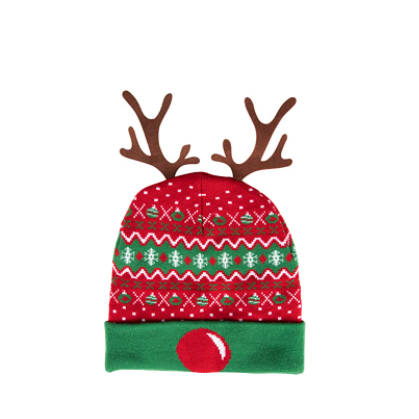 Holiday LED Ugly Knit Reindeer Beanie