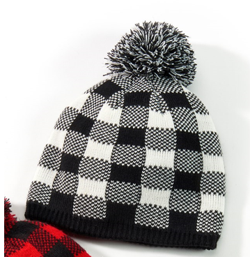 Buffalo Plaid Hat w/Pom-Pom