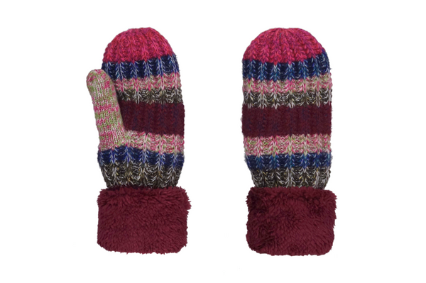 Maroon Multi-Color Wool Blend Giving Mittens w/ Sherpa