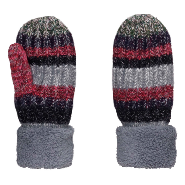 Grey Multi-Color Wool Blend Giving Mittens w/ Sherpa