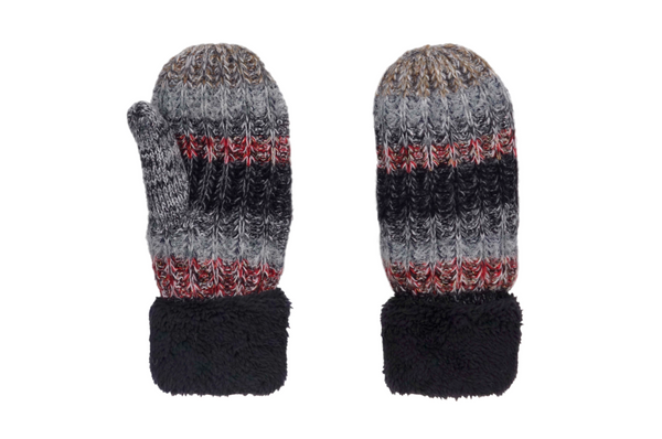Black Multi-Color Wool Blend Giving Mittens w/ Sherpa