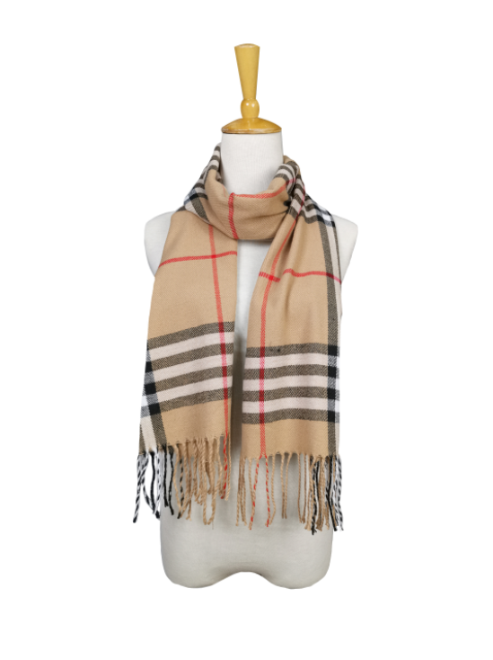 London Berry Plaid Scarf in Beige