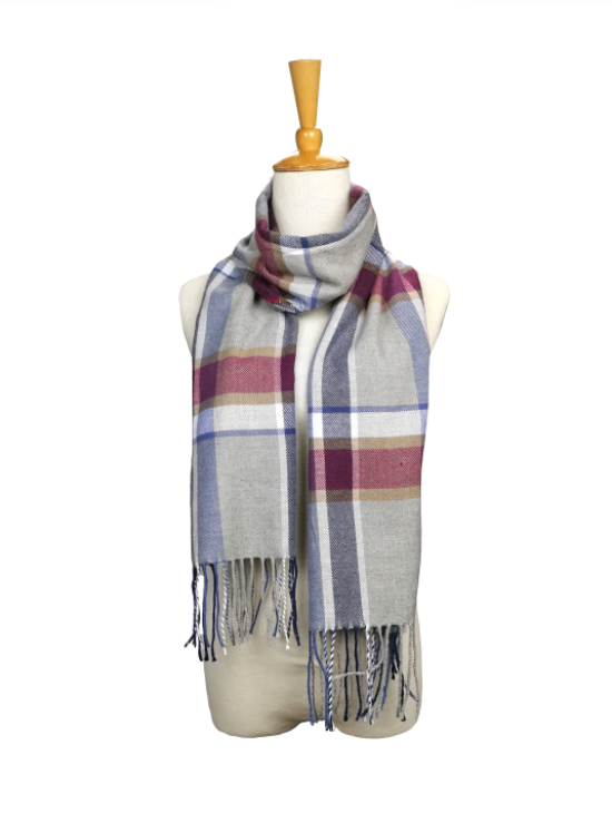 London Berry Plaid Scarf in Blue/Red