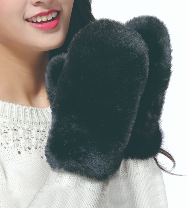 Best of Hollywood Faux Fur Mittens in White