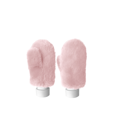 Best of Hollywood Faux Fur Mittens in Blush Pink