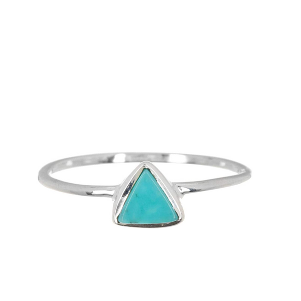 Triangle Turquoise Stone Ring in Silver