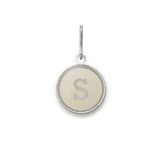 Necklace Charm - Etching Charm, Initial S, Sterling Silver