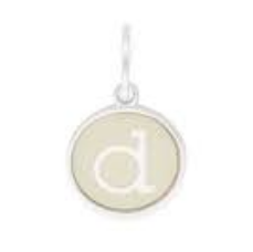 Necklace Charm - Etching Charm, Initial D, Sterling Silver