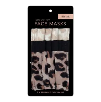 Kitsch - Adult Cotton Face Mask, Pack of 3 - Leopard