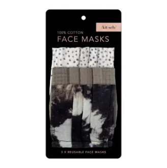 Kitsch - Adult Cotton Face Mask, Pack of 3 - Neutral