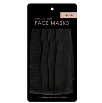 Kitsch - Adult Cotton Face Mask, Pack of 3 - Black