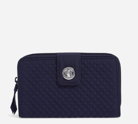 RFID Turnlock Wallet in Classic Navy