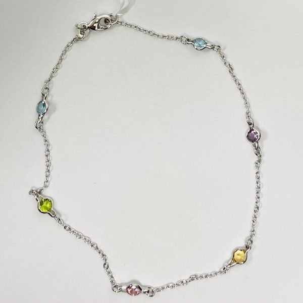 Silver Multi Color Stone Anklet