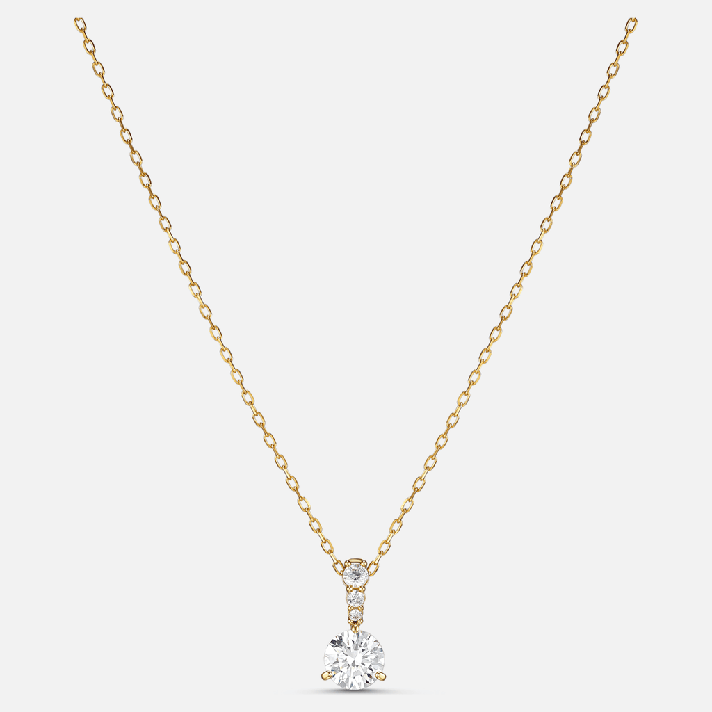 Solitaire Pendant, White, Gold-tone plated