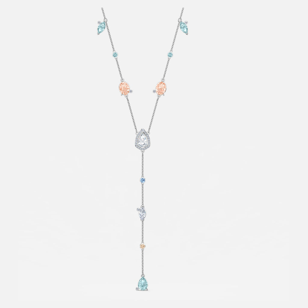Sunny Y Necklace, Light multi-colored, Rhodium plated