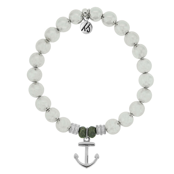 Core Collection Bracelet, Silver Hematite Stone - (Select Charm Inside)