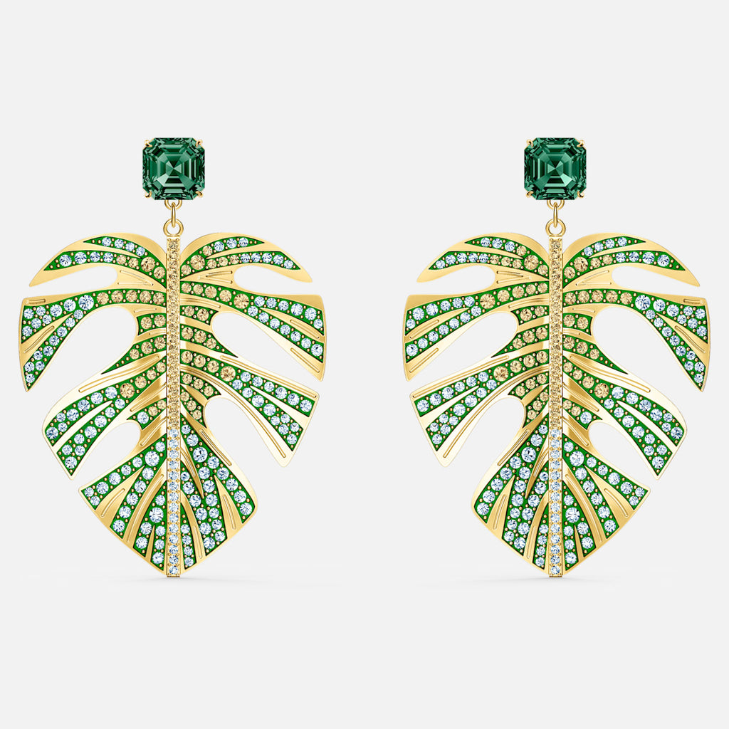 Tropical Leaf Pierced Earrings, Green, Gold-tone plated