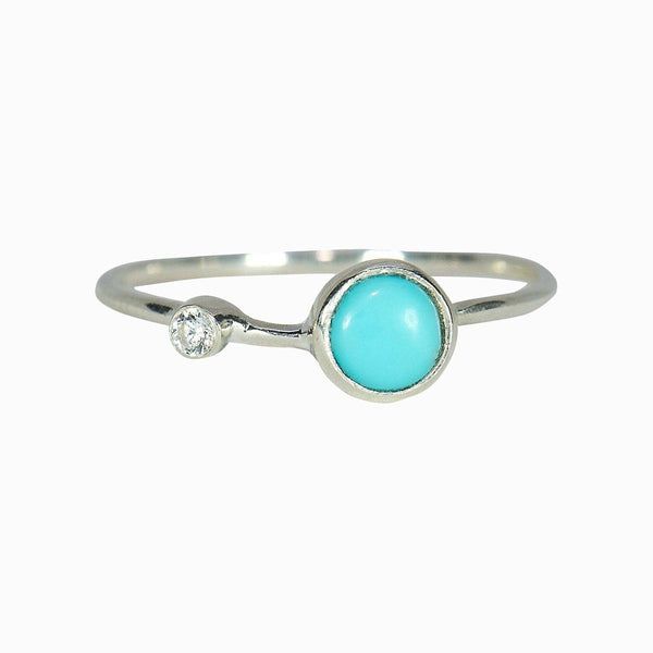 Turquoise Double Stone Ring in Silver