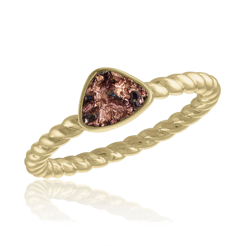 Pink-Champagne Triangle Druzy Gold Layers Ring