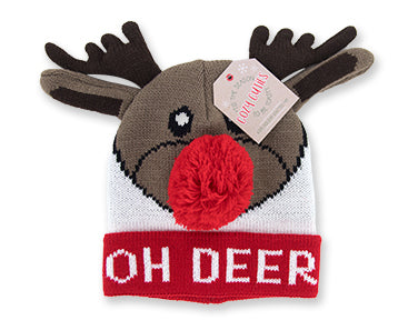 Cozy Cuties Kid's Holiday Knitted Hat - Reindeer
