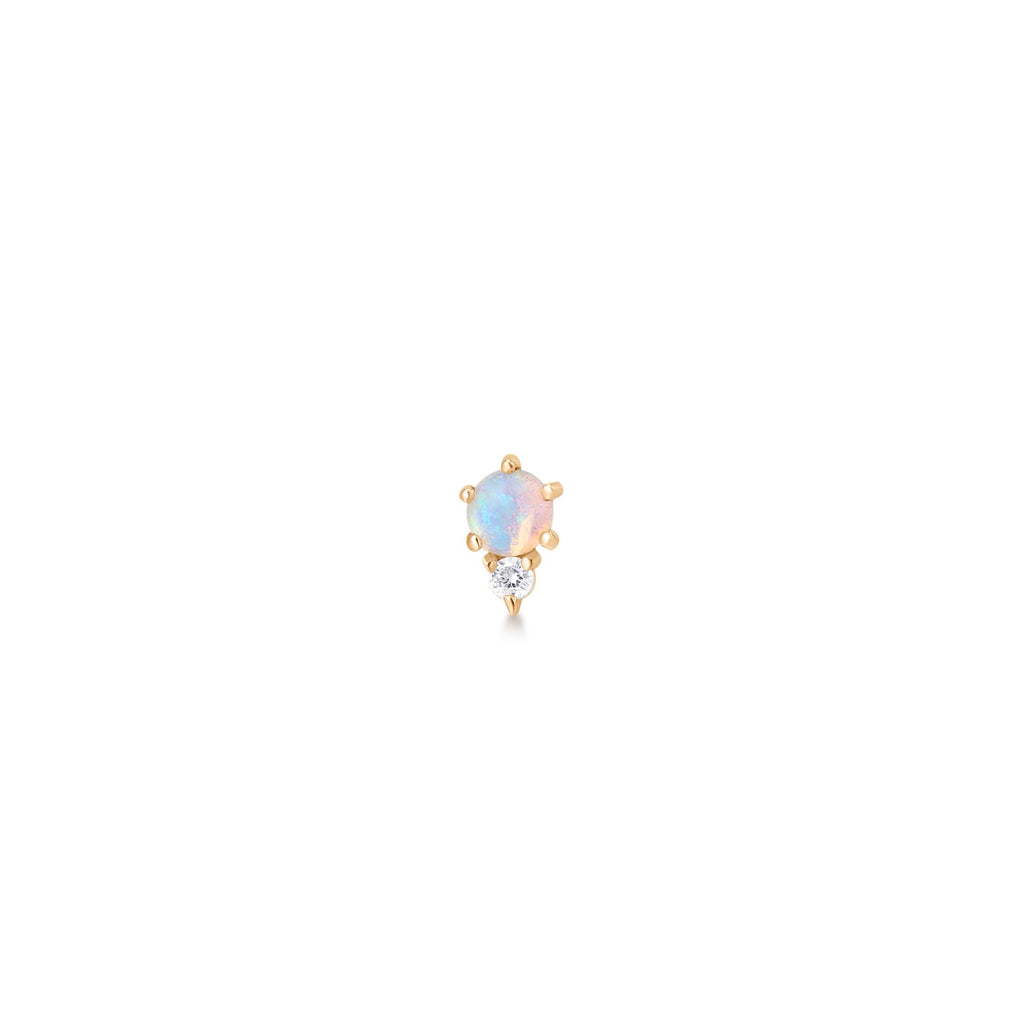 Small Opal Studded Ear Piece with Diamond