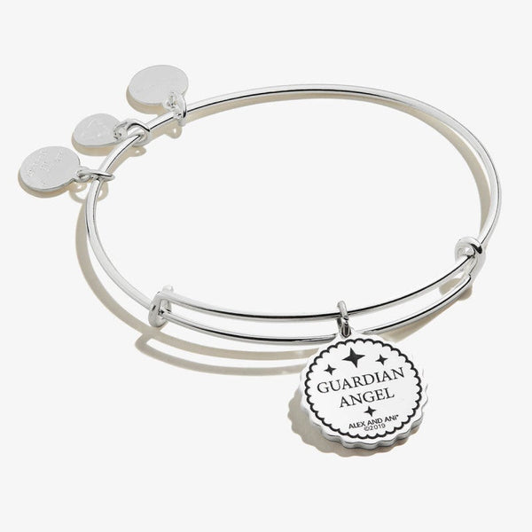Guardian Angel Embossed Charm Bangle Bracelet Shiny Silver