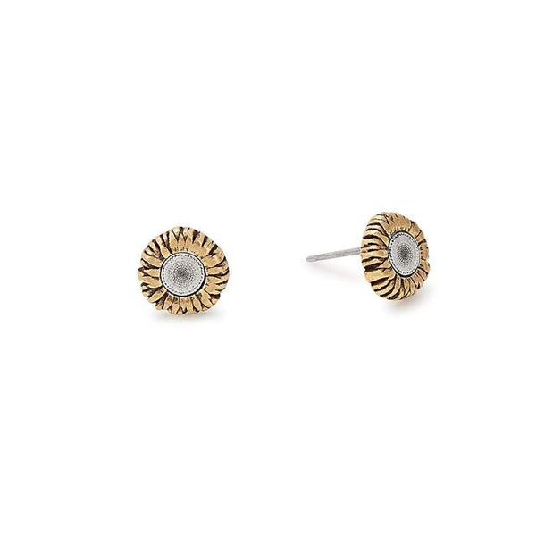 Alex and Ani Sunflower Stud Two Tone Earrings LTD