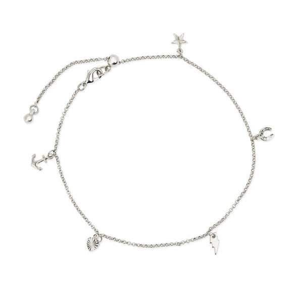 Charm Anklet, Silver