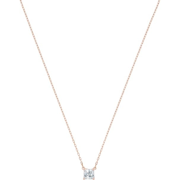 Attract Square Necklace, White, Rose Gold Plated
