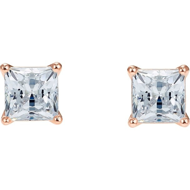 Attract Square Pierced Earrings, White, Rose Gold Plated