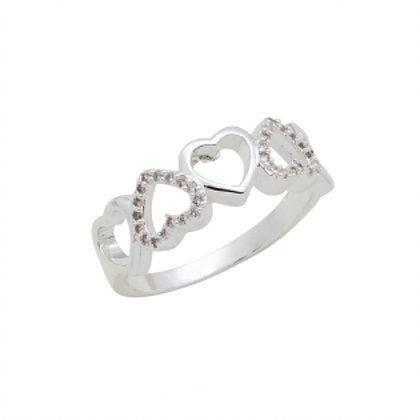 Heart Band CZ Stack Ring