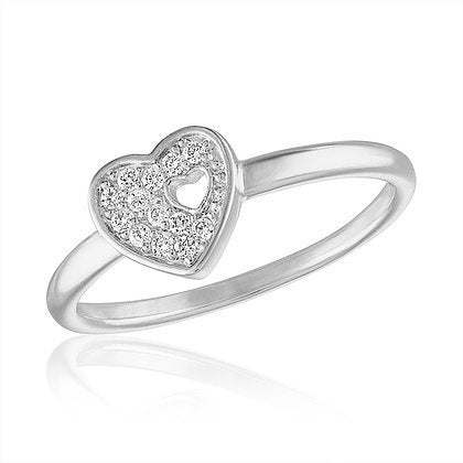 Cutout CZ Heart Stack Ring