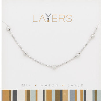 Layers Necklace-Silver Decorative Ball