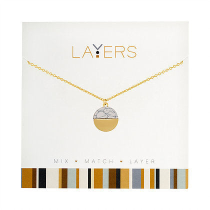 Layers Necklace-Gold Circle Granite